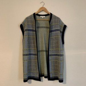 Two by Vince Camuto Plaid Open Sweater Vest XS